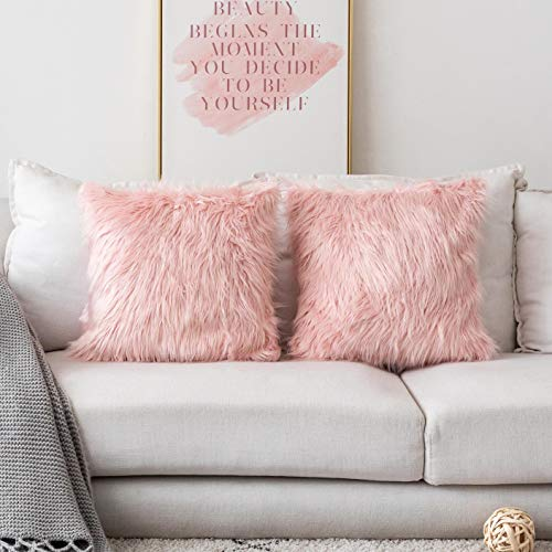 Deluxe Home Decorative Super Soft Plush Mongolian Faux Fur Accent Throw Pillow Cover Cushion Case for Bed, Set of 2 18 x 18 Inch, Pink