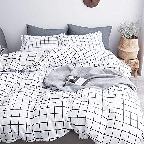 NANKO Queen Duvet Cover Set Grid, 90×90 Soft Bedding Cover, Luxury Cool Lightweight Microfiber 3pc Set 1 Cover 2 Pillowcase with Zip, Tie – Best Modern Style Bed Quilt Cover for Decor, Plaid White