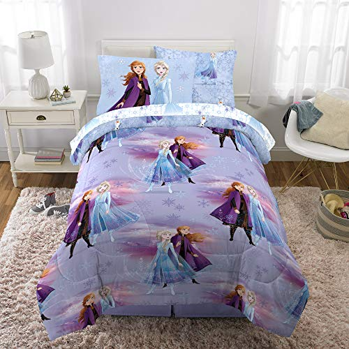 Franco Kids Bedding Super Soft Comforter and Sheet Set with Bonus Sham, 5 Piece Twin Size, Disney Frozen 2
