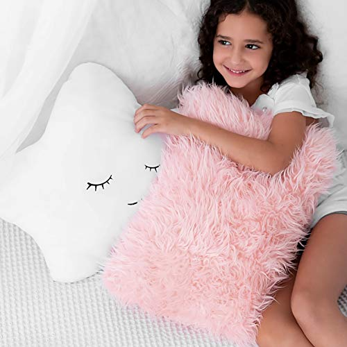 Nursery Toddler or Teen Bedroom Décor – For Crib – Set of 2 Decorative Throw Pillows for Baby Girls, Kids. Star Furry White w/ Cute Embroidered Sleeping Face and Fluffy Pink Faux Fur, Soft and Plush