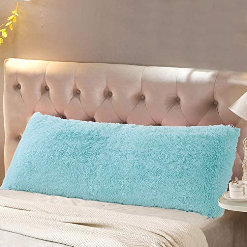 Reafort Luxury Long Hair, PV Fur, Faux Fur Body Pillow Cover/Case 21″x54″ with Hidden Zipper Closure Aqua, 21″X54″ Pillow Cover