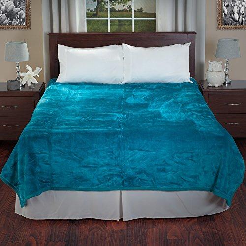 Lavish Home Solid Soft Heavy Thick Plush Mink Blanket 8 Pound – Aqua