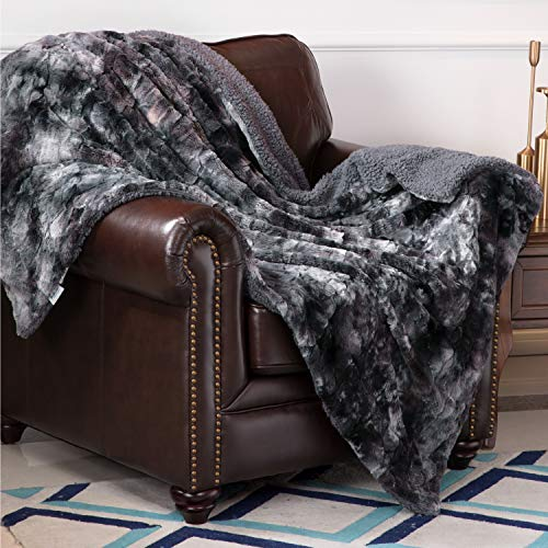 Plush Fluffy Fleece Blanket as Gifts 50×60 inches, Dark Grey – Bedsure Super Soft Fuzzy Faux Fur Reversible Tie-dye Sherpa Throw Blanket for Sofa, Couch and Bed