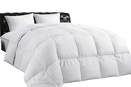 Lightweight Down Comforter King, All-Season Medium Warmth, 100% Cotton Cover, Quilted with Corner Tabs, Soft Comfortable, White Duck Feather Down, Machine Washable, 106″X90″