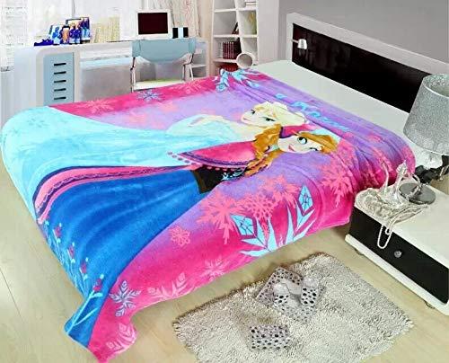 FairyShe Baby Fleece Blanket Kids Plush Blanket Cartoon Soft Warm Fuzzy Blanket Plush Sheet,59″ x 79″ Coral Velvet Blanket for Crib Bed Couch Chair Fall Winter Spring Living RoomFrozen