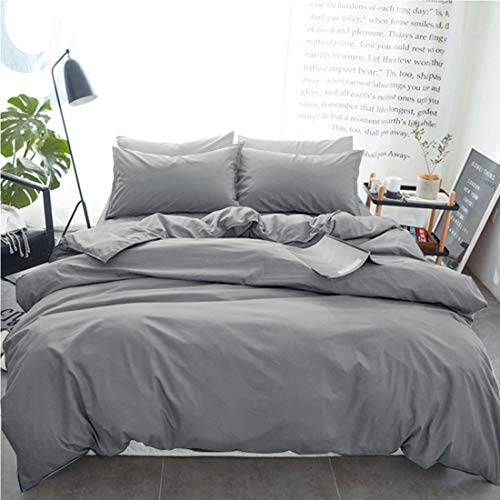 INGALIK Bedding 3 Piece Duvet Cover Set King Size with Zipper Closure Ultra Soft Breathable 100% Washed Microfiber Hotel Luxury Solid Color Collection 3pc 1 Duvet Cover + 2 Pillow Shams Light Grey
