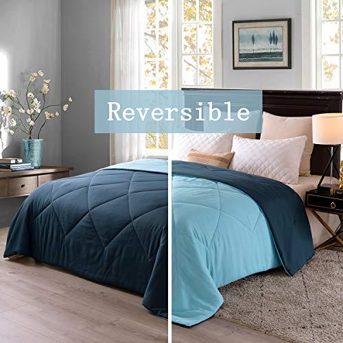 "Exclusivo Mezcla Lightweight Reversible Down Alternative Quilted Comforter Duvet for All Seasons, Queen Size 88"" x 88"", Navy Blue"