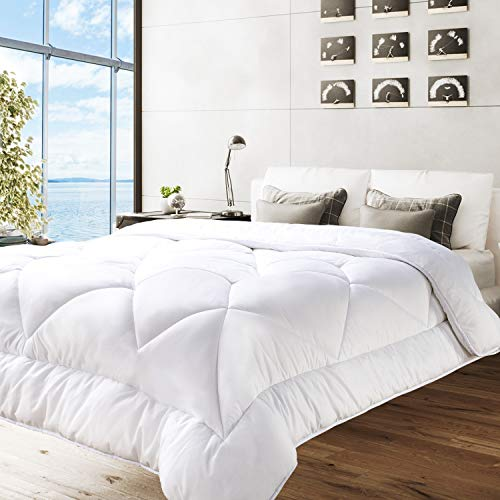 BedStory Down Alternative Comforter Queen Size – Bed Duvet Insert All Season Comforter Quilted with Ultra Soft Microfiber Fill 350 GSM- Hypoallergenic & Machine Washable, White