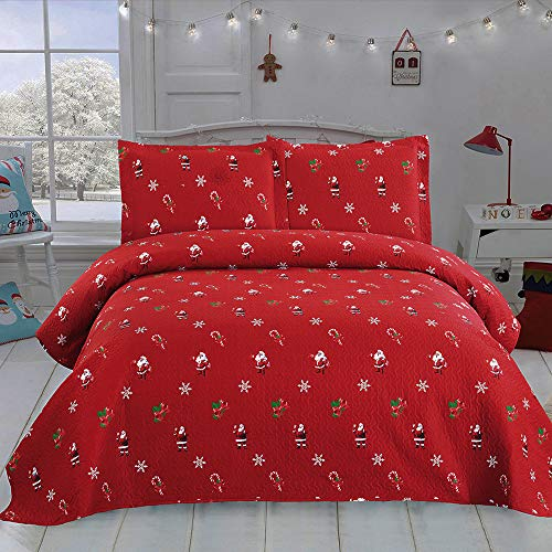 3 Pieces 1 Quilt, 2 Shams – JSTxtiles Quilts Set King Size 96″x108″,Christmas Santa Claus Pattern, Soft Microfiber Bedding Cover Red for All Season