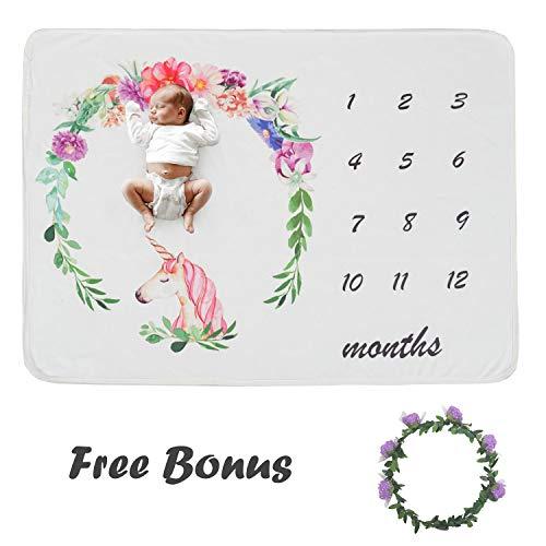 Viviland Baby Monthly Milestone Blanket Boys Girls   Soft Baby Receiving Blanket with Bonus Floral Wreath   Newborn Photography Background   Ideal 30″X40″, Lovely Unicorn