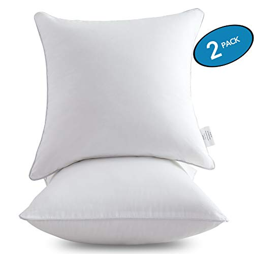 Throw Pillow Inserts with 100% Cotton Cover – Decorative Pillow Insert Pair – MoMA 18 x 18 Pillow Inserts Set of 2 – White Couch Pillow – 18 Inch Square Interior Sofa Pillow Inserts