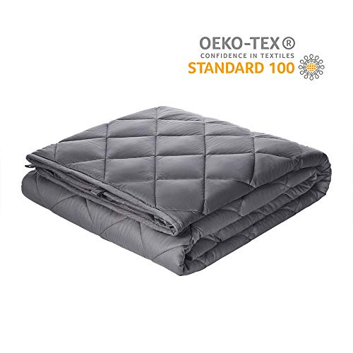 """Viki Adult Weighted Blanket 15 lbs, 48""""x72"""", Dark Grey, Cooling Soft Heavy Cozy Blanket with Glass Beads"""