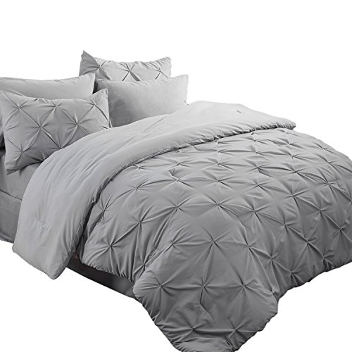 Bedsure 6 Pieces Pinch Pleat Down Alternative Comforter Set Twin Size 68X88 inches Solid Grey Bed in A Bag Comforter, 1 Pillow Sham, Flat Sheet, Fitted Sheet, Bed Skirt, 1 Pillowcase