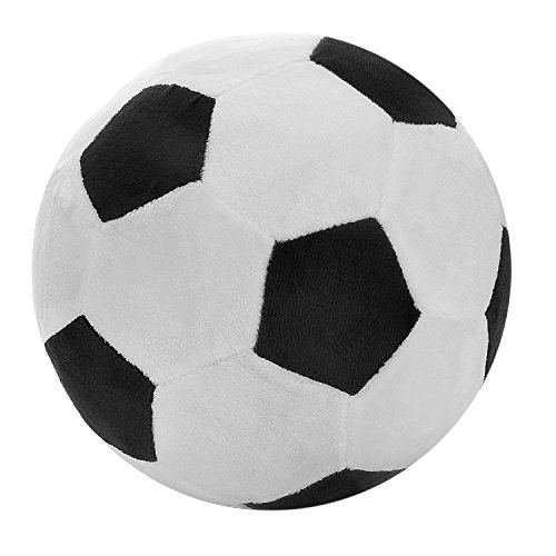 Soccer Plush Fluffy Plush Soccer Ball Pillow Soft Durable Stuffed Soccer Ball Toy Safe Soft Soccerball Indoors Toys Gift For Kids Boy Infants Toddler Baby 8″ L X 8″ W X 8″ H Black And White