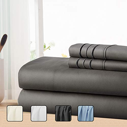 COHOME Queen Bed Sheets Set 4 Piece, Microfiber 1800 Thread Count Luxury Egyptian Sheets-Stain Wrinkle Fade Resistant, Hypoallergenic 16 inch Deep Pocket Bedding Set Dark Grey