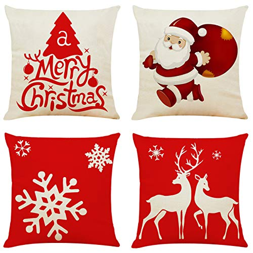 Ogrmar 4PCS 18″x18″ Throw Pillow Covers Christmas Decorative Couch Pillow Cases Cotton Linen Pillow Square Cushion Cover for Sofa, Couch, Bed and Car