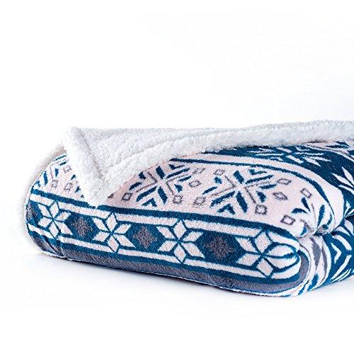 Lavish Home Fleece Sherpa Blanket Throw, Snowflakes