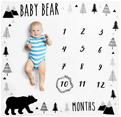 Organic Baby Monthly Milestone Blanket Baby Bear with Month Frame Prop for Newborn Boy | 1 to 12 Months | Soft Photography Background | Baby Shower Gift