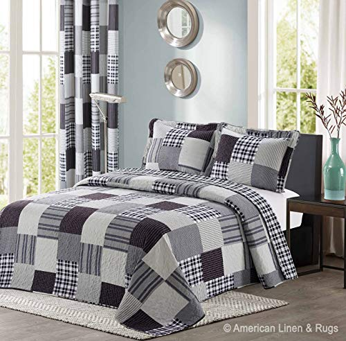 All American Collection Black and Grey Modern Plaid Bedspread and Pillow Sham Set   Matching Curtains Available! Twin Size