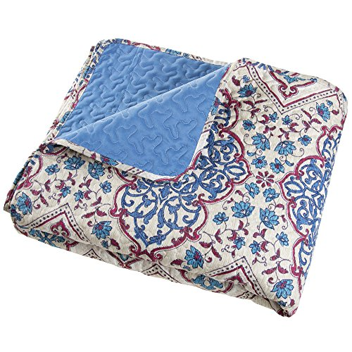 Full/Queen Quilt Bed Set, 3 Piece Reversible Microfiber Quilt Bedding Set With Shams -Alexandra Embossed Quilt Bedroom Set by Bedford Home Blue