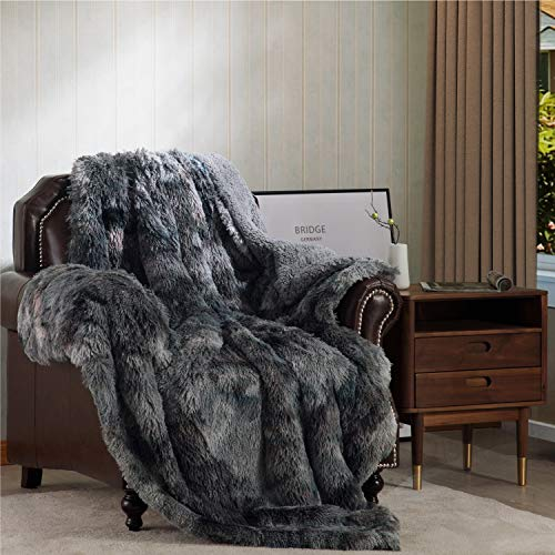 Bedsure Super Soft Fuzzy Faux Fur Reversible Sherpa Throw Blanket for Sofa, Couch and Bed – Plush Fluffy Fleece Blanket as Gifts 50×60 inches, Grey