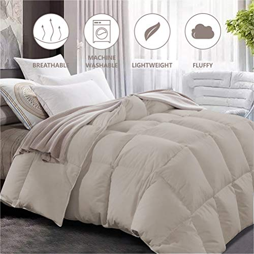 """Maple Down Comforter Queen Size Duvet Insert, Down Alternative Comforter Quilted with Corner Tabs for All Season, Soft & Breathable Brushed Microfiber Machine Washable Light Brown,90"""" * 90"""""""