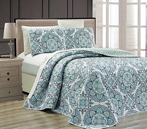 Linen Plus King/California King 3pc Reversible Oversized Bedspread Set Medallion Print Navy Blue White Teal Aqua Taupe