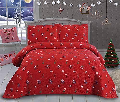 Christmas Bedding Santa Claus Quilt Set 3Pcs Reversible Bedspread lightweight Quilt Cartoon Christmas Coverlet New Year Gift Decor Christmas Quilt Queen Size 90″ x90″ 2 Pillowcase20″ x26″ Dark Color