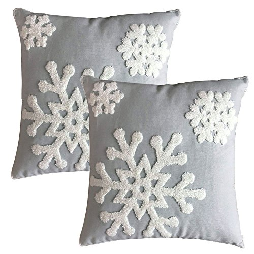 Elife Soft Square Christmas Snowflake Home Decorative Canvas Cotton Embroidery Throw Pillow Covers 18×18 Cushion Covers Pillowcases for Sofa Bed Chair 1 Pair, Grey