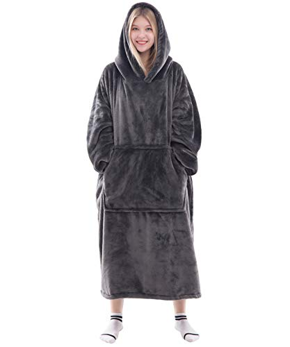 Dark Gray/XL – Waitu Wearable Blanket Snuggle Hoody Blanket for Adult and Child, Super Warm and Cozy Blanket Hoodie for Women and Men, Fleece Blanket with Sleeves and Giant Pocket