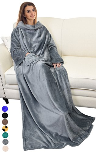 Catalonia Wearable Blanket with Sleeves and Pocket, Comfy Soft Fleece Mink Micro Plush Wrap Throws Blanket Robe for Women and Men 73″ x 51″