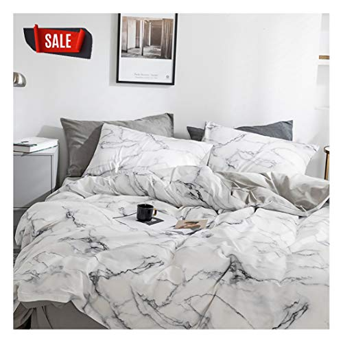 YZZ COLLECTION Queen Bedding Duvet Cover Set, Premium Microfiber,Marble Pattern On Comforter Cover-3pcs:1x Duvet Cover 2X Pillowcases,Comforter Cover with Zipper Closure Full/Queen