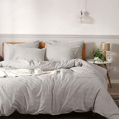 JELLYMONI 100% Natural Cotton 3pcs Striped Duvet Cover Sets,White Duvet Cover with Grey Stripes Pattern Printed Comforter Cover,with Zipper Closure & Corner TiesQueen Size