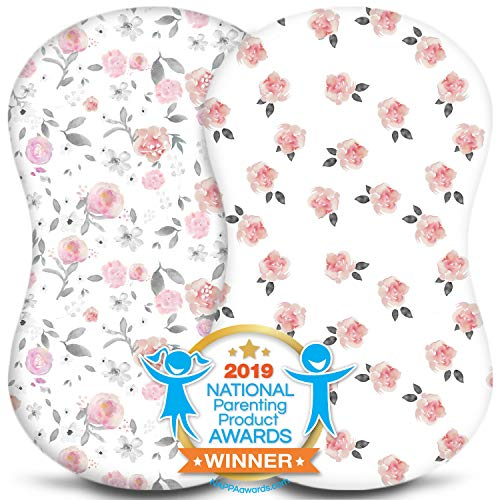 Bassinet Sheets – Baby Bedside Sleeper Cover – Universal Sheet Set for Rectangle, Oval, or Hourglass Bassinet Mattress – White 2 Pack for a Girl – Petal – Fitted, Premium Jersey Cotton