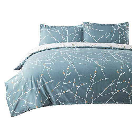 Bedsure Duvet Cover Set with Zipper Closure-Teal/White Printed Branch Pattern Reversible,King104x90 inches-3 Pieces 1 Duvet Cover + 2 Pillow Shams-110 GSM Ultra Soft Hypoallergenic Microfiber