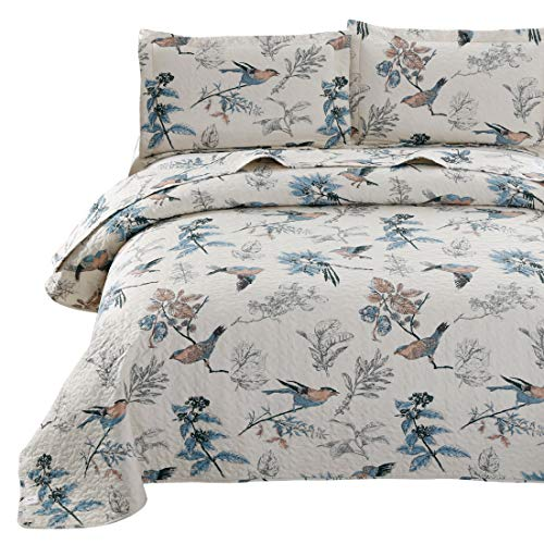 VITALE Queen Size Bedspread Set Jacquard Birds Floral Quilts Coverlet Set Full/Queen with Queen Pillow Shams,Lightweight Bedspreads Home Decor Blue Cream