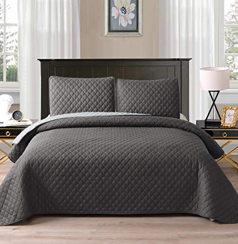 Grey, 92″x104″ – Exclusivo Mezcla Ultrasonic Reversible 3-Piece King Size Quilt Set with Pillow Shams, Lightweight Bedspread/Coverlet/Bed Cover