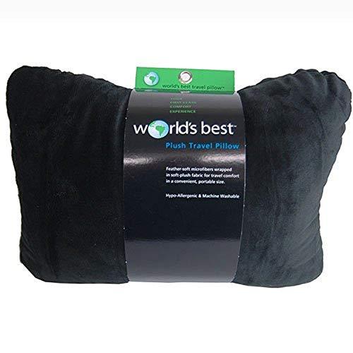 World's Best Feather Soft Microfiber Retangular Travel  Pillow, Black