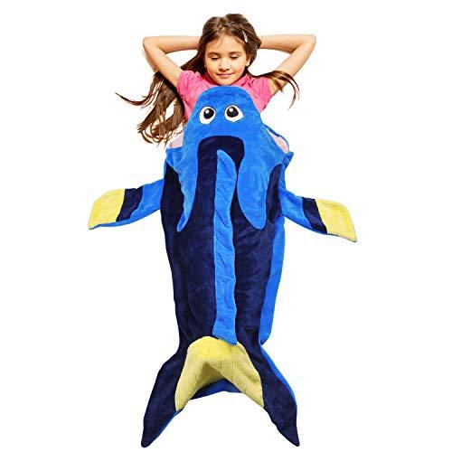 Catalonia Blue Tang Fish Dory Blanket for Kids,Hooded Snuggle Tail Blanket,Super Soft Plush Sleeping Bags for Toddler Children Teens Boys Girls, Gift Idea