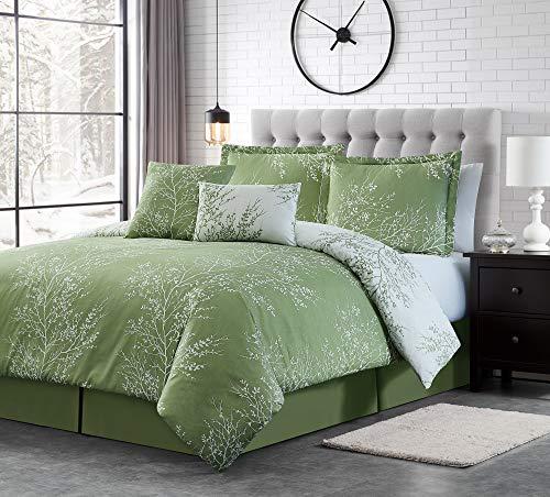 Spirit Linen 6pc Warm and Cozy Comforter Set Platinum Bedding Collection Baby Soft Texture Plush Bed Blanket Sage, Queen