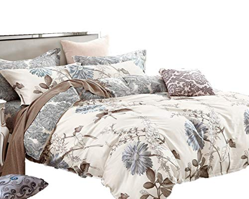 Swanson Beddings Daisy Silhouette Reversible Floral Print 3-Piece 100% Cotton Bedding Set: Duvet Cover and Two Pillow Shams King