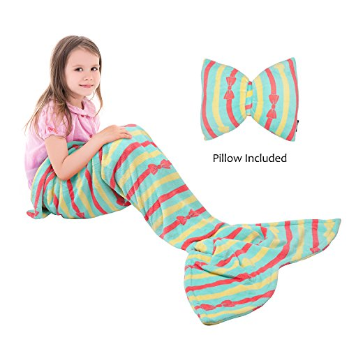 Catalonia Kids Mermaid Tail Blanket Pillow Cushion,Super Soft Coral Plush Fleece Mermaids Gift Snuggle Sleeping Bag for Girls Teens Children 60 x 21 Green