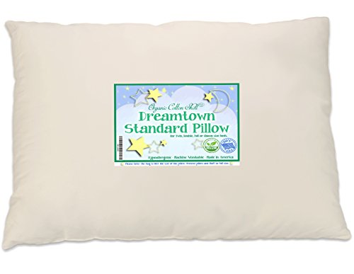 Dreamtown Kids Standard Size Pillow with Organic Cotton Shell 20×26 Tan, Stuffed to Be Slim for Kids and Stomach Sleepers, Made in USA