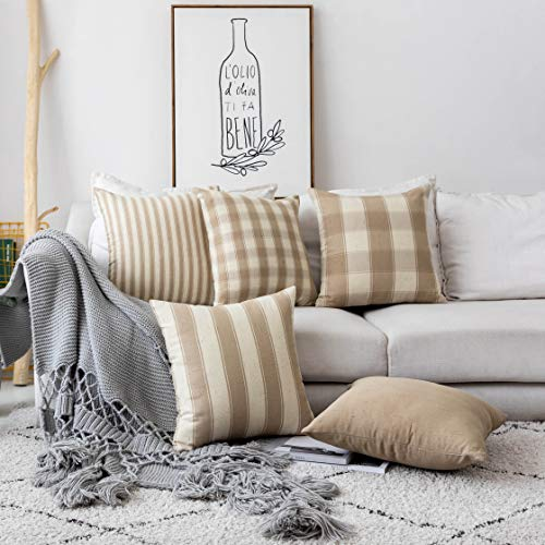 Home Brilliant Decorative Throw Pillow Covers Set of 5 Farmhouse Striped Textured Linen Burlap Pillow Cases Cushion Cover for Couch, Oatmeal, 18×18 inch 45cm