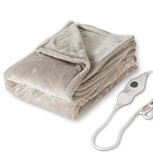 Tefici Electric Heated Blanket Throw with 3 Heating Levels & 4 Hours Auto Off,Super Cozy Soft Heated Sherpa Throw with Fast Heating and Machine Washable,Home Office Use,50″ x 60″ Beige