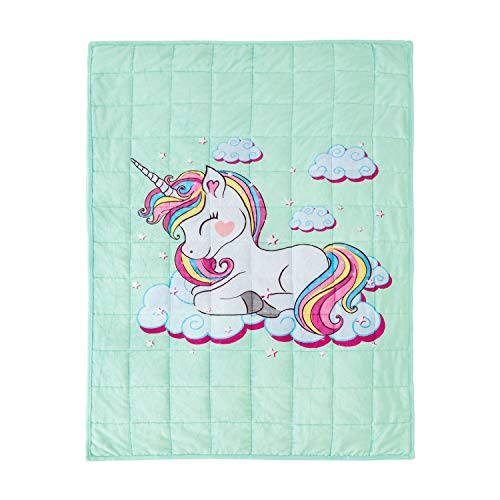 BUZIO Kids Fleece Weighted Blanket 5lbs, Unicorn Blanket for Kids with 4 Color Options, Ultra Soft and Cozy Heavy Blanket, Great for Calming and Sleep, 36x 48inch