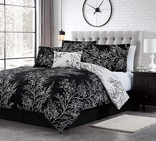 Spirit Linen 6pc Warm and Cozy Comforter Set Platinum Bedding Collection Baby Soft Texture Plush Bed Blanket Black, Queen