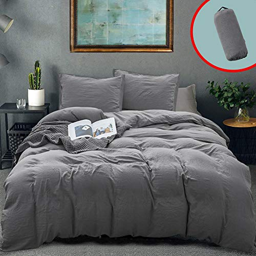 Vailge 3-Piece Duvet Cover Set Queen Size, 100% Washed Microfiber Hotel Collection Bedding Sets,Ultra Soft and Breathable Comforter Cover with Zipper Closure & Corner TiesQueen, Grey