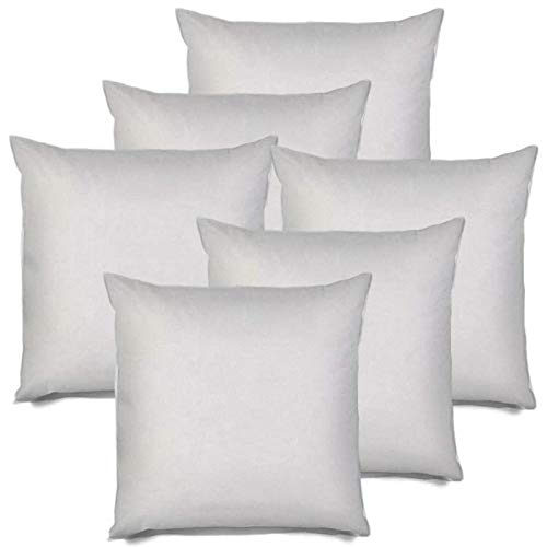 IZO All Supply Square Sham Stuffer Hypo-Allergenic Poly Pillow Form Insert, 18″ L x 18″ W 6 Pack