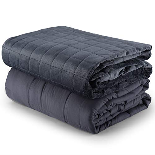 ACWARM HOME Weighted Blanket with Free Removable Minky Cover,15 lbs, 48″x72″,Grey